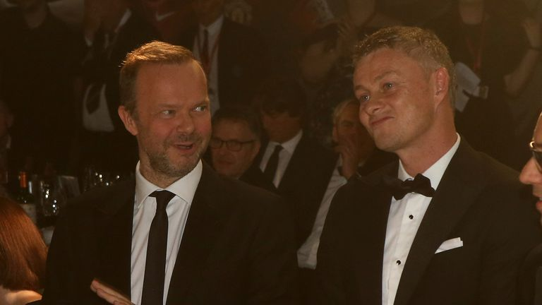 MANCHESTER, ENGLAND - NOVEMBER 25: Ed Woodward and Manager Ole Gunnar Solskjaer of Manchester United take part in a game at the annual Manchester United UNICEF Dinner at Old Trafford on November 25, 2019 in Manchester, England. (Photo by John Peters/Manchester United via Getty Images)