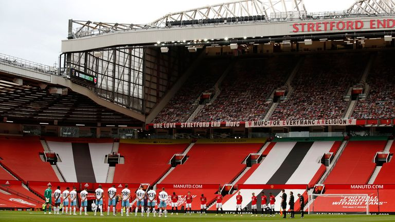 Manchester United's Old Trafford lies empty ahead of a Premier League game