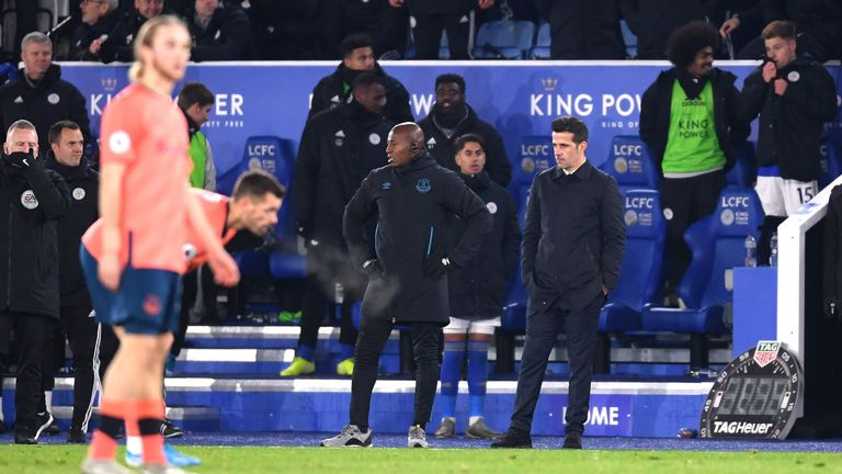 Marco Silva watches on as Everton were beaten in cruel fashion at Leicester