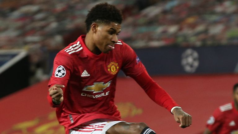 Marcus Rashford's deflected shot draws Manchester United level against PSG