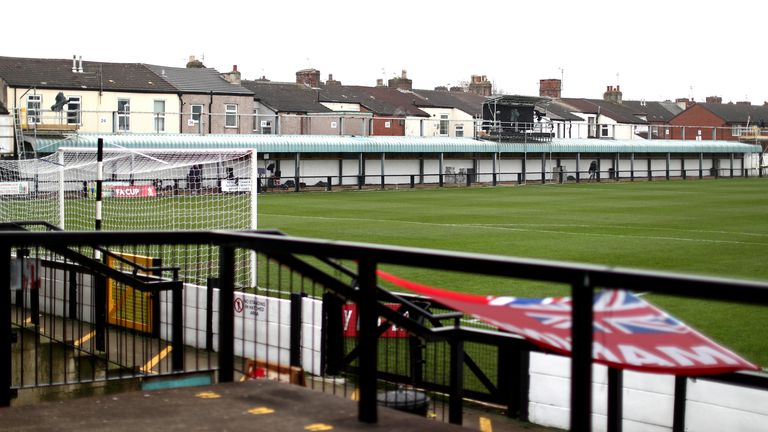 General view inside the stadium prior to the FA Cup Second Round match between Marine FC and Havant and Waterloovile at The Marine Travel Arena on November 29, 2020 in Crosby, England. Sporting stadiums around the UK remain under strict restrictions due to the Coronavirus Pandemic as Government social distancing laws prohibit fans inside venues resulting in games being played behind closed doors.