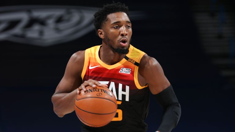 Donovan Mitchell #45 of the Utah Jazz dribbles the ball during the game against the Oklahoma City Thunder on December 28, 2020 at Chesapeake Energy Arena in Oklahoma City, Oklahoma.