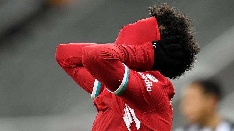 Mohamed Salah reacts to a missed chance as Liverpool are frustrated
