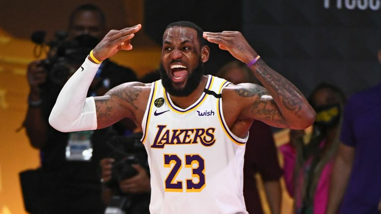 LeBron James #23 of the Los Angeles Lakers reacts during Game Six of the NBA Finals on October 11, 2020