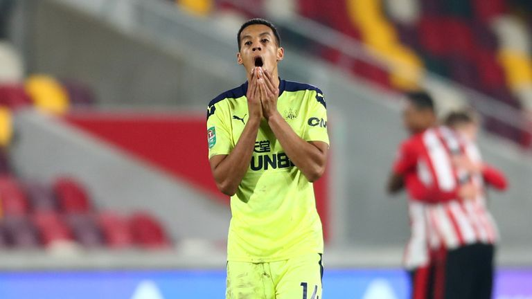 Newcastle midfielder Isaac Hayden shows his despair at the final whistle