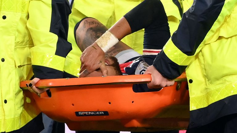 Neymar was in tears as he was carried off on a stretcher at the Parc des Princes on Sunday