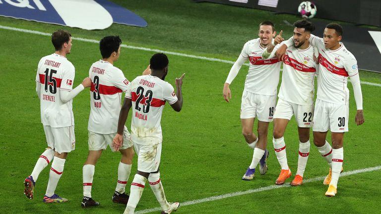 Nicolas Gonzalez celebrates scoring for Stuttgart on a memorable away day