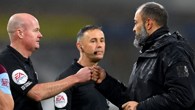 Nuno Espirito Santo was highly critical of referee Lee Mason after Wolves' defeat to Burnley