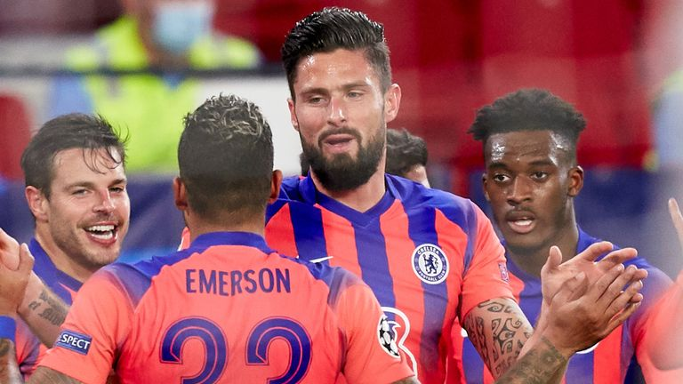 Olivier Giroud is congratulated by his team-mates after giving Chelsea the lead
