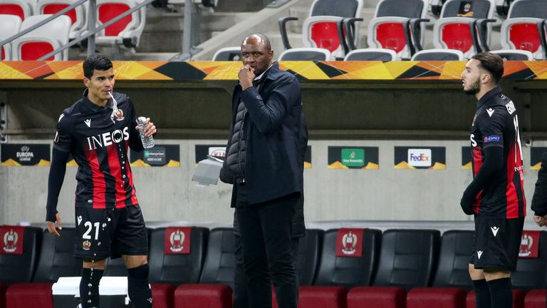 Vieira on the touchline during Nice's Europa League defeat at home to Bayer Leverkusen