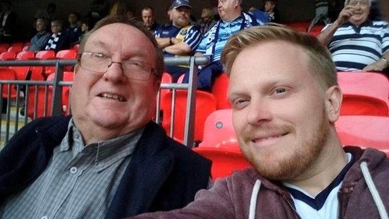 David Eatough, Peter Eatough - Rainbow Laces, Wembley, May 2015 - father and son