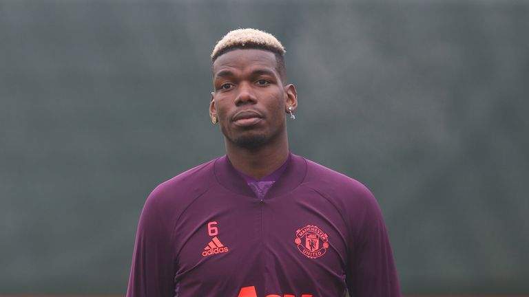 Paul Pogba trains with Manchester United ahead of their Champions League game with RB Leipzig.