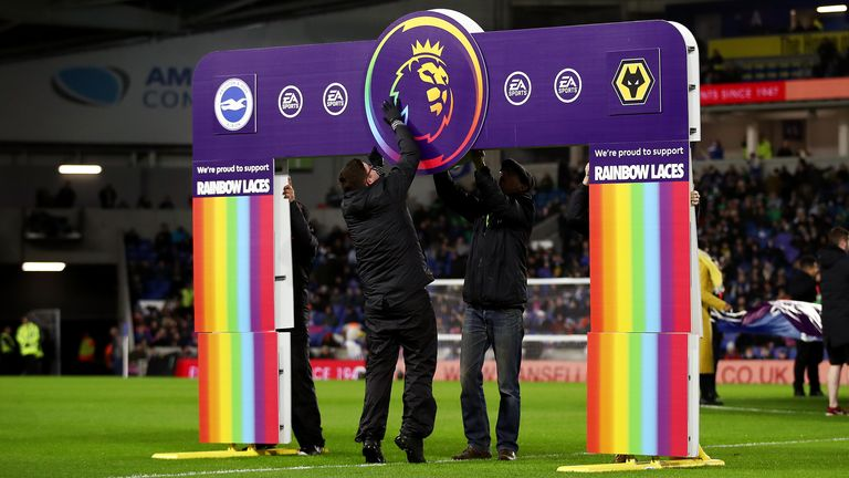 BRIGHTON, ENGLAND - DECEMBER 08: Stonewall Rainbow Laces branding is seen prior to the Premier League match between Brighton & Hove Albion and Wolverhampton Wanderers at American Express Community Stadium on December 08, 2019 in Brighton, United Kingdom. (Photo by Bryn Lennon/Getty Images)