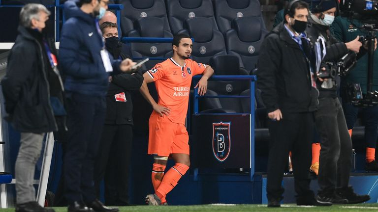 Basaksehir's Brazilian defender Rafael looks on after the game was suspended