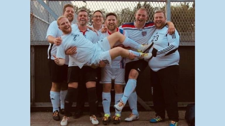 Mike Swash, Neil Procter, Andrew Mason, Lee Parker, David Emery, Nik Gittins, Peter Eatough at the front - Portly Vale, Rainbow Laces