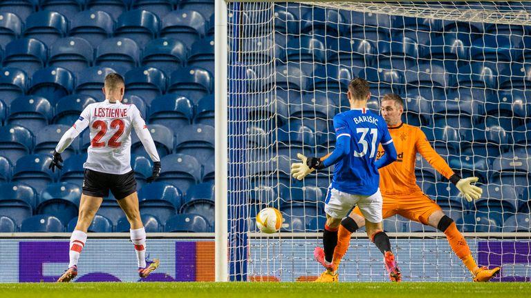 Maxime Lestienne beats Rangers Allan McGregor to make it 1-0