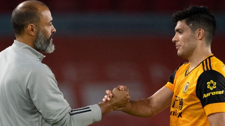 Wolverhampton Wanderers manager Nuno Espirito Santo greets his player Raul Jimenez