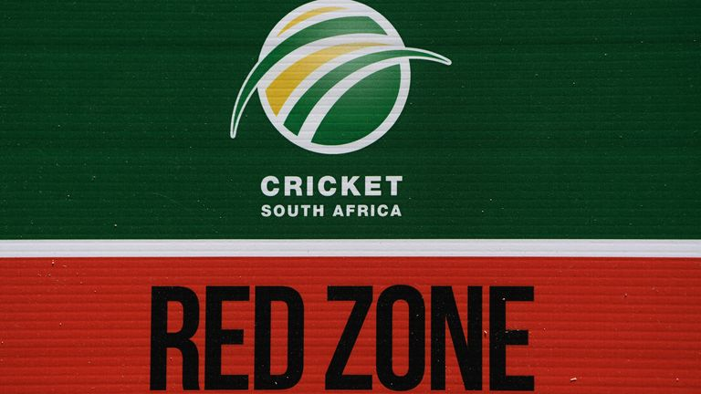A COVID-19 sign on the gates of Newlands, where the 1st ODI was meant to take place on Friday