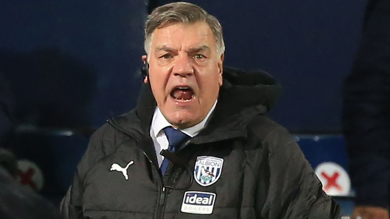 Sam Allardyce, Manager of West Bromwich Albion reacts during the Premier League match between West Bromwich Albion and Aston Villa at The Hawthorns on December 20, 2020 in West Bromwich, England. The match will be played without fans, behind closed doors as a Covid-19 precaution. (Photo by Lindsey Parnaby - Pool/Getty Images)