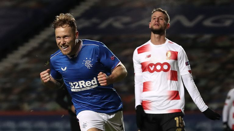 Scott Arfield celebrates putting Rangers in front against Standard Liege