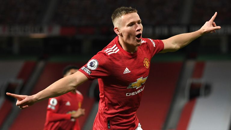 Scott McTominay celebrates after scoring his second of two early goals against Leeds