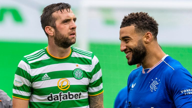SNS - Rangers' Connor Goldson (right) celebrates at full time as Celtic's Shane Duffy looks on during a Scottish Premiership match between Celtic and Rangers at Celtic Park