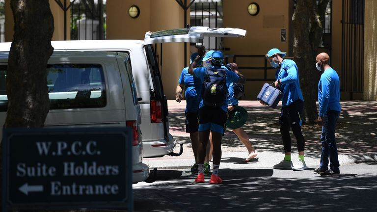South African backroom staff pack up after the postponement of the first one-day international