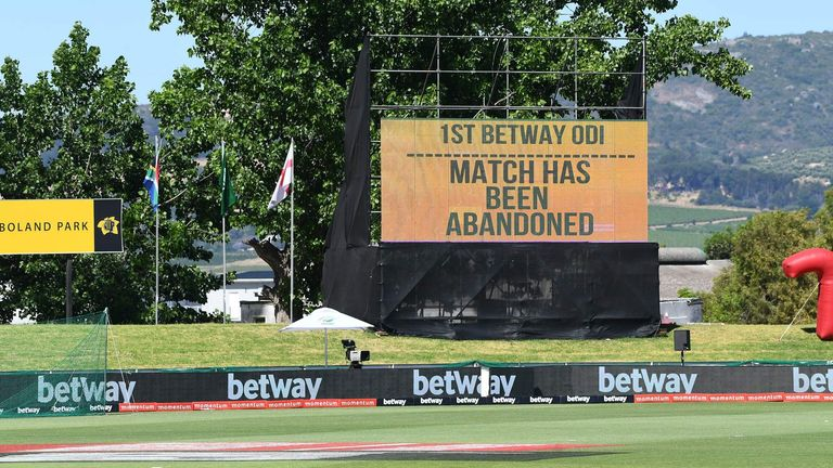 The rearranged first ODI at Paarl was abandoned after two members of staff at the team hotel tested positive for Covid-19