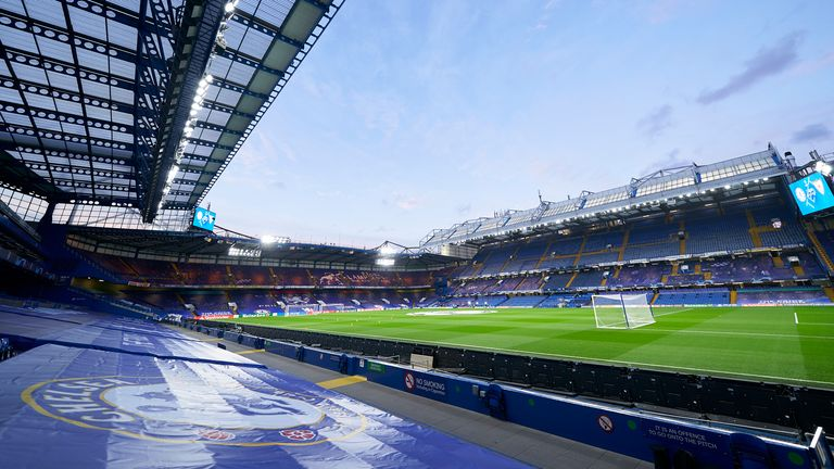 General view inside the stadium prior to the UEFA Champions League Group E stage match between Chelsea FC and Sevilla FC at Stamford Bridge on October 20, 2020 in London, England. Sporting stadiums around the UK remain under strict restrictions due to the Coronavirus Pandemic as Government social distancing laws prohibit fans inside venues resulting in games being played behind closed doors. (Photo by Mateo Villalba/Quality Sport Images/Getty Images)