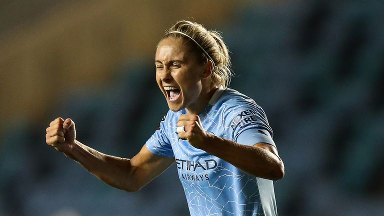 Steph Houghton of Manchester City Women celebrates at full time during the Vitality Women's FA Cup Semi Final match between Manchester City and Arsenal on October 1, 2020 in Manchester, England