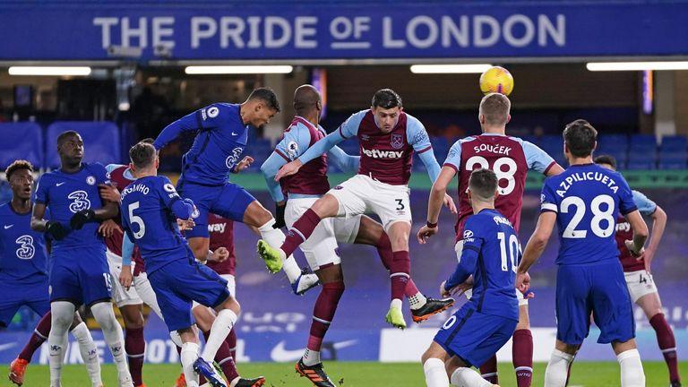 Thiago Silva's headed goal for Chelsea against West Ham