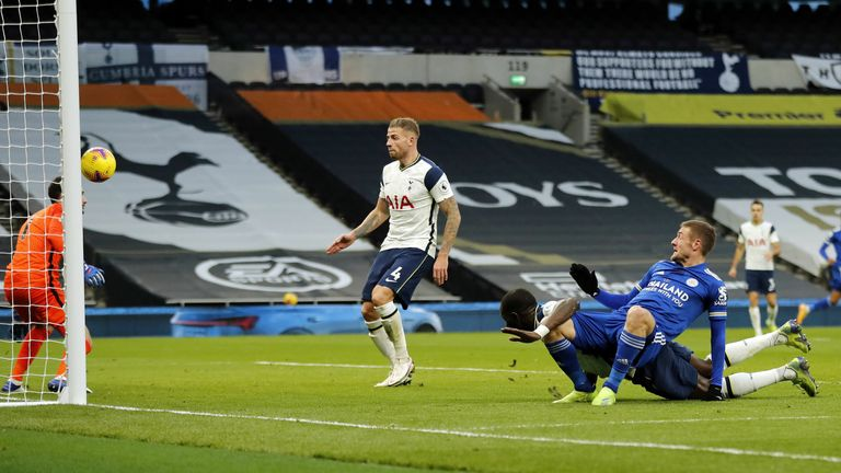 Toby Alderweireld deflects the ball into his own net from Jamie Vardy's downward header