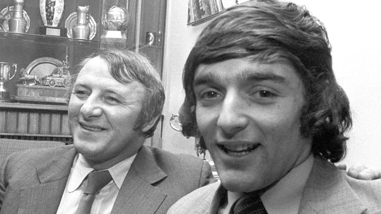 Manchester United manager Tommy Docherty and Scotland striker Lou Macari in 1973. Macari was a £200,000 signing from Celtic.