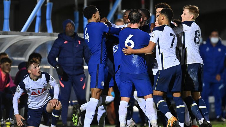 Danny Drinkwater's reaction to Alfie Devine's tackle caused a melee between Chelsea and Spurs players