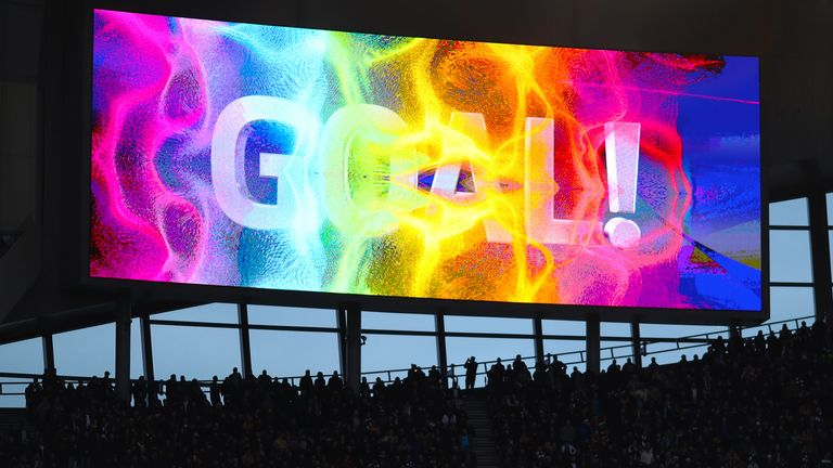 A goal is displayed on one of Tottenham Hotspur's four big screens in the Stonewall Rainbow Laces Campaign colours during the Premier League match between Tottenham Hotspur and Burnley at Tottenham Hotspur Stadium. (Final Score: Tottenham Hotspur 5 : 0 AFC Burnley) (Photo by Richard Calver / SOPA Images/Sipa USA)