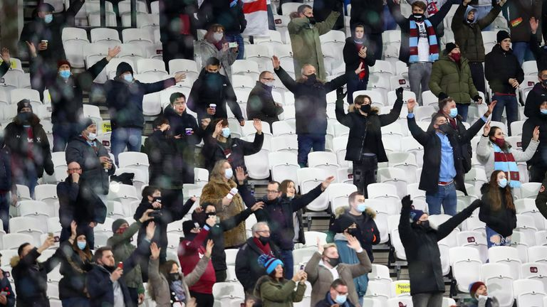 West Ham United fans show their support prior to the Premier League match between West Ham United and Manchester United
