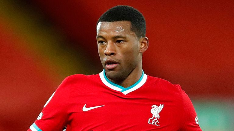 LIVERPOOL, ENGLAND - DECEMBER 27: Georginio Wijnaldum of Liverpool runs with the ball during the Premier League match between Liverpool and West Bromwich Albion at Anfield on December 27, 2020 in Liverpool, England. A limited number of fans (2000) are welcomed back to stadiums to watch elite football across England. This was following easing of restrictions on spectators in tiers one and two areas only. (Photo by Clive Brunskill/Getty Images)