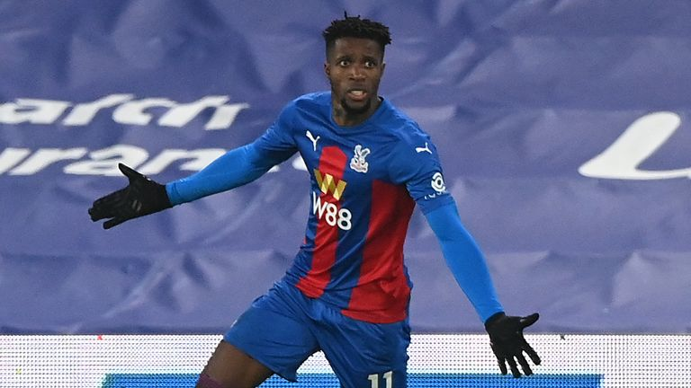 Crystal Palace's Wilfried Zaha celebrates scoring his side's first goal of the game