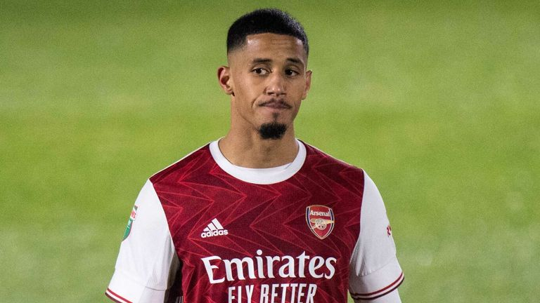 William Saliba was sent off during Arsenal U21's Papa John's Trophy defeat to AFC Wimbledon