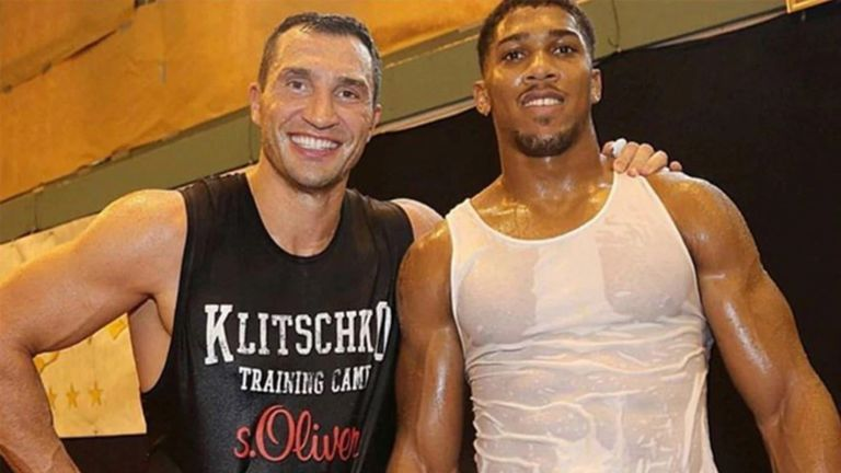 Klitschko and Joshua in 2014