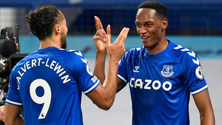 Yerry Mina celebrates after restoring Everton's lead against Arsenal