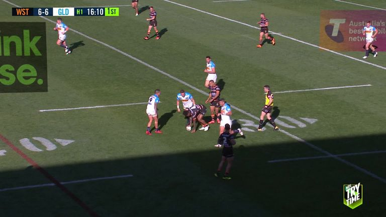 Watch Reynolds' long-range try for Wests Tigers against Gold Coast Titans in the NRL in 2018