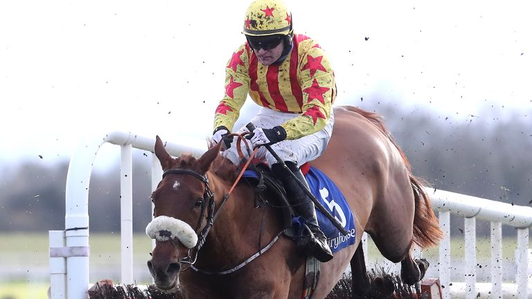 Royal Kahala ridden by jockey Kevin Sexton on their way to winning the Wishing Everyone A Healthy 2021 Mares Hurdle at Fairyhouse Racecourse.