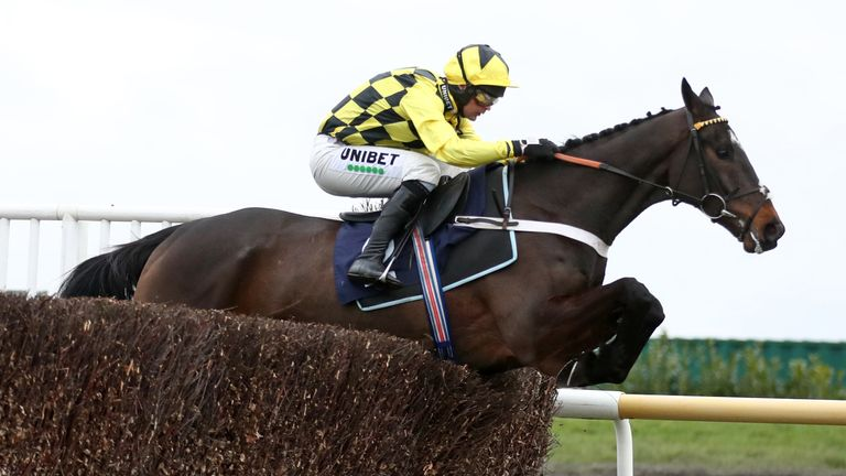 Shishkin ridden by Nico de Boinville clears a fence before going on to win the Irish Thoroughbred Marketing Lightning Novices' Chase at Doncaster Racecourse. Picture date: Saturday January 30, 2021.