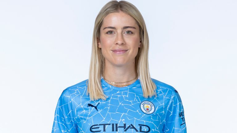 Abby Dahlkemper #13 of Manchester City and the USWNT poses during a portrait session
