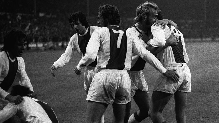 Johan Cruyff celebrates with team mates after Arie Haan scored for Ajax in the European Cup Final against Panathinaikos at Wembley.