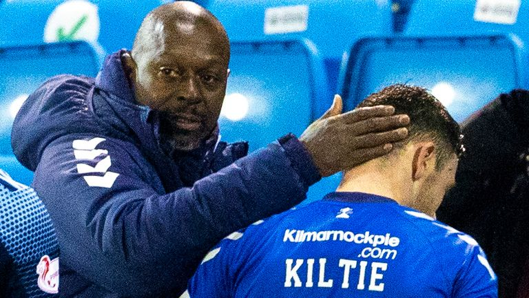 KILMARNOCK, SCOTLAND - JANUARY 09: Kilmarnock Manager Alex Dyer with Greg Kiltie at Full Time during a Scottish Premiership match between Kilmarnock and Hamilton at Rugby Park on January 09, 2021, in Kilmarnock, Scotland. (Photo by Alan Harvey / SNS Group)