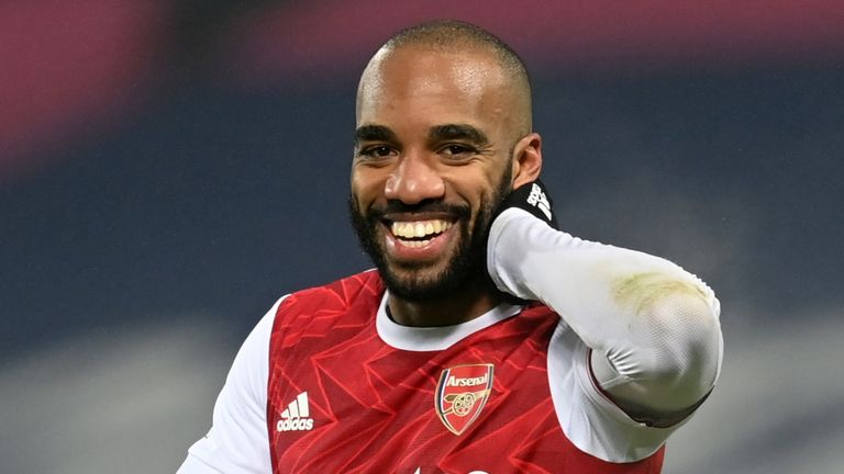 Arsenal's Alexandre Lacazette celebrates scoring his side's fourth goal at West Brom