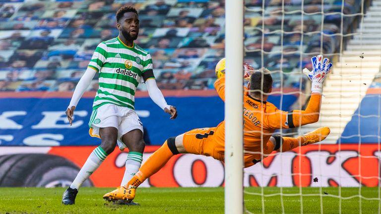 Allan McGregor makes an early save from Odsonne Edouard
