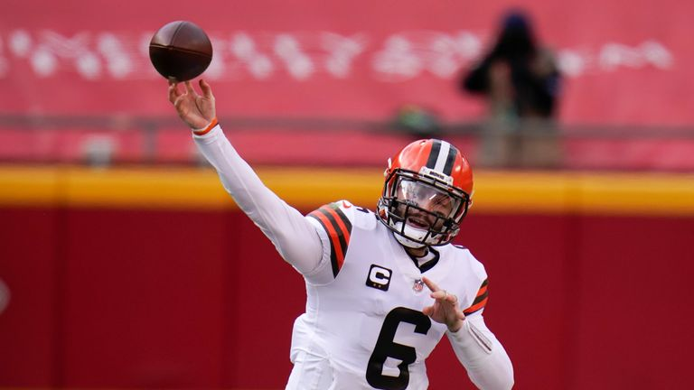 Cleveland quarterback Baker Mayfield threw just his second interception in his last 369 pass attempts as Kansas City continued to dominate their Divisional Round encounter.